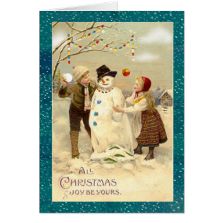 Cartão Boneco de neve do natal vintage