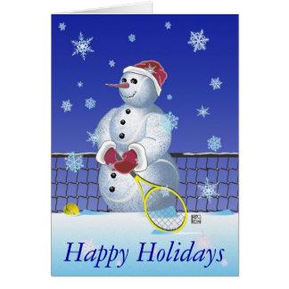 Cartão Boneco de neve do tênis boas festas