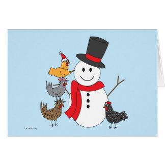 Cartão Boneco de neve e galinhas