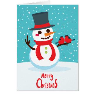 Cartão Boneco de neve e pássaros