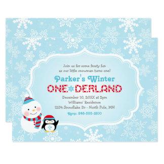 Cartão Boneco de neve e pinguim do aniversário   de