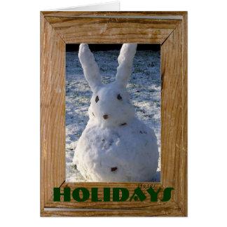 Cartão Boneco de neve engraçado do coelho