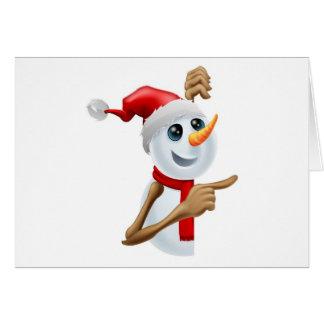 Cartão Boneco de neve feliz em apontar do chapéu do papai