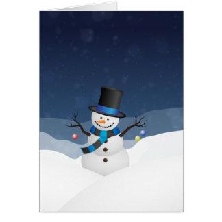 Cartão Boneco de neve nevado do Xmas