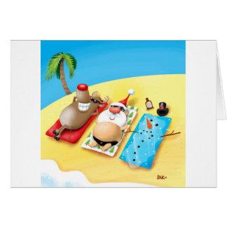 Cartão Boneco de neve que Sunbathing