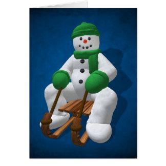 Cartão Boneco de neve Sledding do vintage
