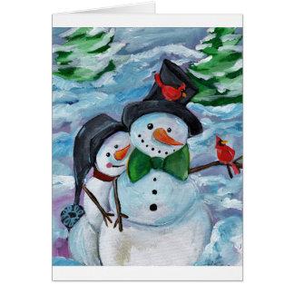 Cartão Bonecos de neve de visita cardinais
