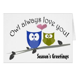 Cartão bonito da arte das corujas do Natal dos