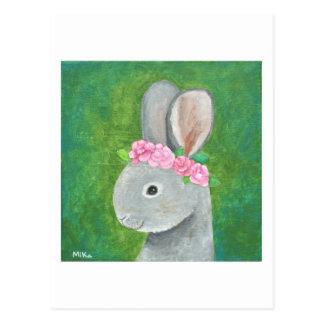 Cartão bonito da coroa da flor do coelho do cartão