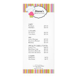 Cartão bonito da cremalheira da padaria do cupcake panfletos informativos
