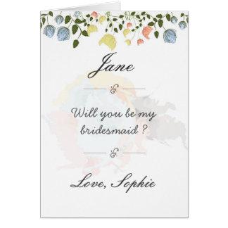 Cartão bonito da dama de honra da flor