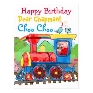 Cartão bonito da foto do feliz aniversario do trem cartoes postais