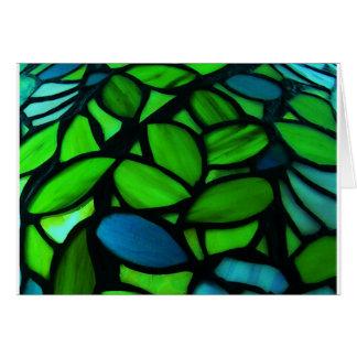 Cartão bonito da nota do vitral do verde azul