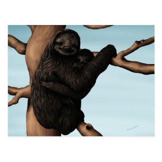 Cartão bonito da preguiça da mãe e do bebê