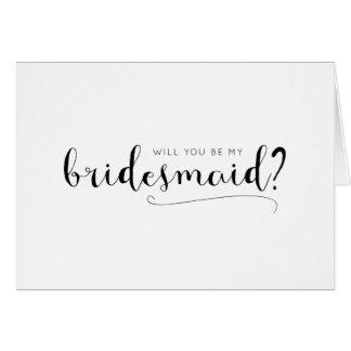 Cartão bonito da proposta da dama de honra da