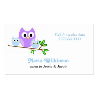 Cartão bonito das mamães das corujas cartoes de visitas