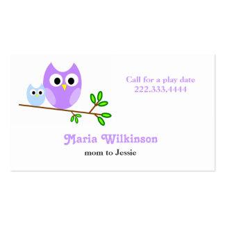 Cartão bonito das mamães e das mamães das corujas  modelos cartão de visita