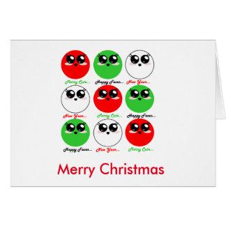 Cartão bonito de Kawaii do ano novo do Feliz Natal