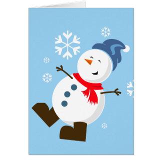 Cartão bonito do boneco de neve