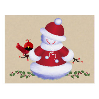 Cartão bonito do boneco de neve com o pássaro para