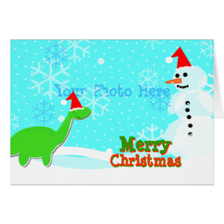 Cartão bonito do boneco de neve do dinossauro dos