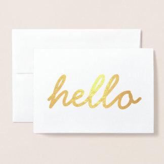 Cartão bonito do convite da folha de ouro do olá!