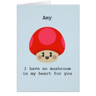 Cartão bonito do coração do cogumelo