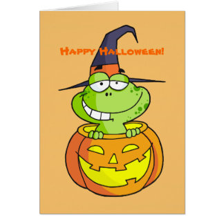 Cartão bonito do Dia das Bruxas do sapo verde