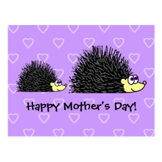 Cartão bonito do dia das mães do ouriço da mamã e