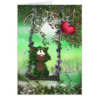 Cartão bonito do dia dos namorados do gato - seja