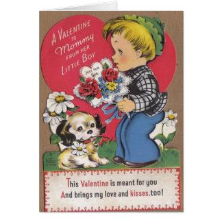 Cartão bonito do dia dos namorados do vintage para