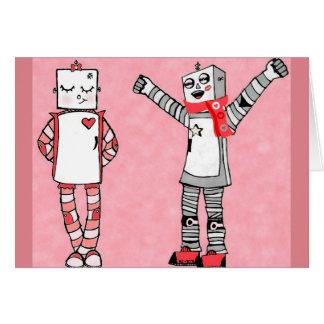 Cartão bonito do dia dos namorados dos robôs do
