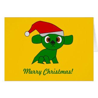 Cartão bonito do dragão verde
