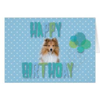 Cartão bonito do feliz aniversario de Sheepdog de