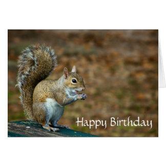 Cartão bonito do feliz aniversario do esquilo