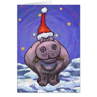 Cartão bonito do feriado do hipopótamo