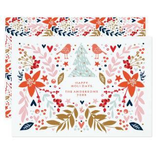 Cartão bonito do feriado do Natal floral