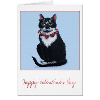 Cartão bonito do gato do smoking dos namorados