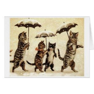 Cartão bonito do gato do vintage