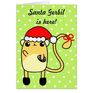Cartão bonito do Gerbil do papai noel do Natal