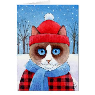 Cartão bonito do inverno do Natal do gato do