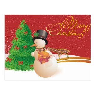 Cartão bonito do Natal do boneco de neve