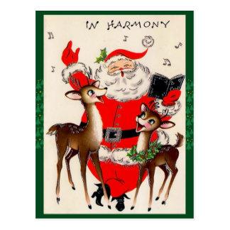 Cartão bonito do Natal do papai noel do canto
