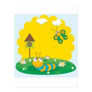Cartão bonito do primavera com lagarta e borboleta