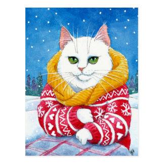 Cartão bonito do racum de Maine do White Christmas