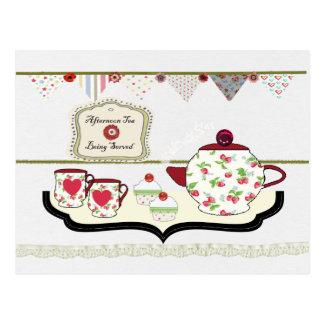 Cartão bonito do tea party do chique