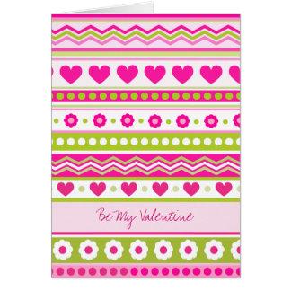 Cartão bonito do tecido dos namorados verdes