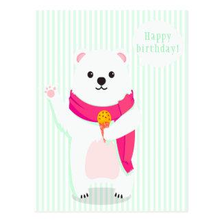 Cartão bonito do verde da hortelã do urso polar de