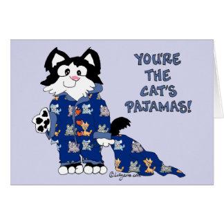 Cartão bonito dos pijamas dos gatos dos desenhos