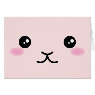 Cartão Bonito, kawaii, design cor-de-rosa do coelho